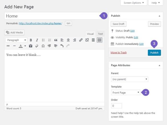 Create a page Home