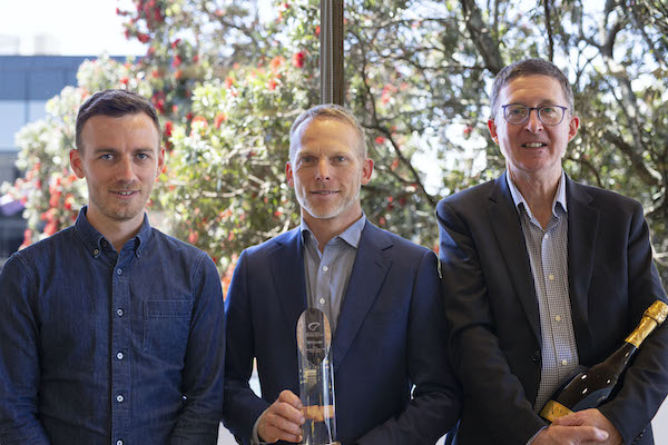 Landscape image of Luke Boyle, Kevin Ross and Doug Campbell with the Hi-Tech Award