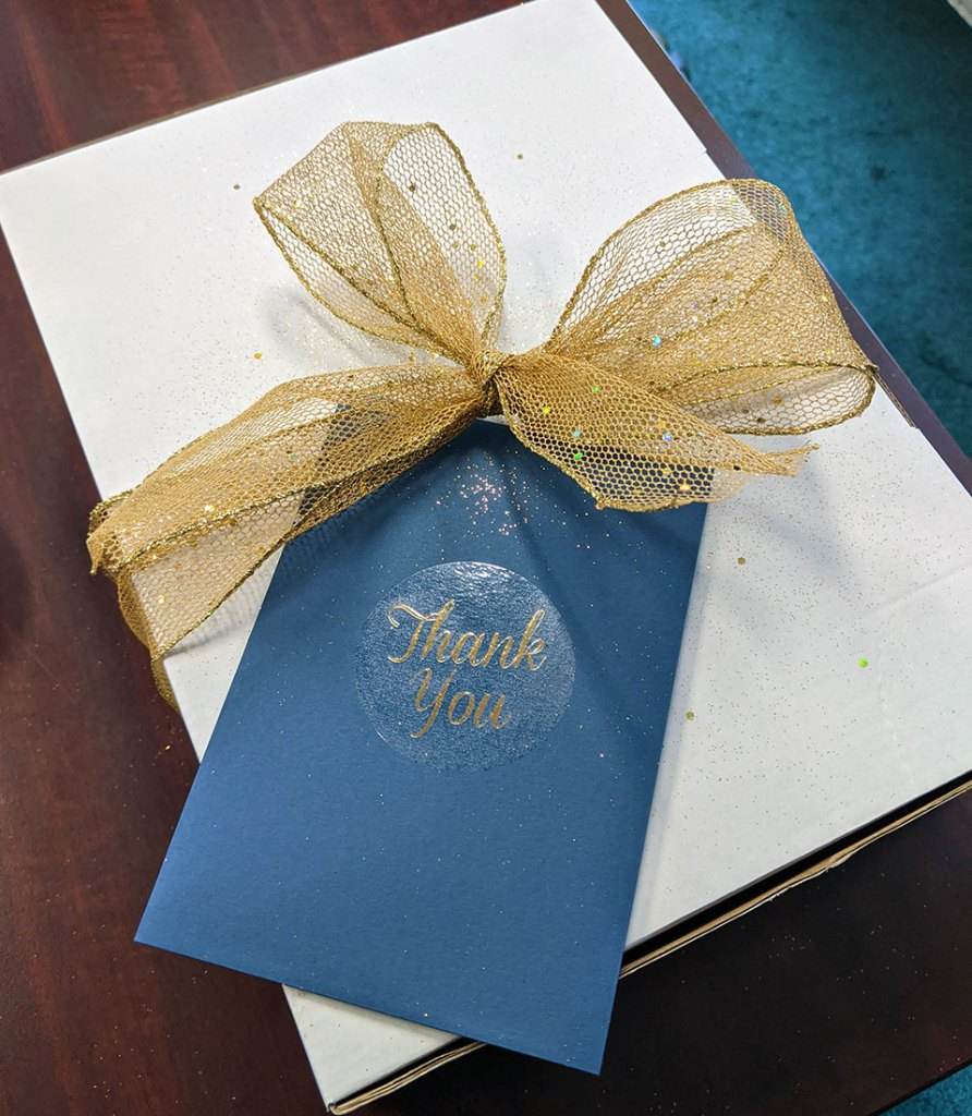 Gift Box with gold bow and thank you card