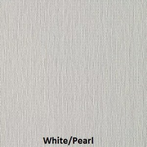 This picture shows a sample of our White/Pearl fabric sample for sun screens series of M Screen.