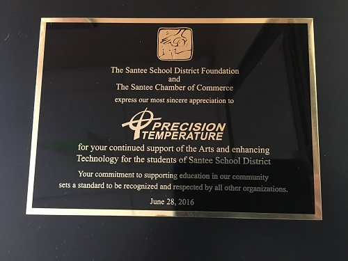 Santee School District & Chamber Recognition Plaque
