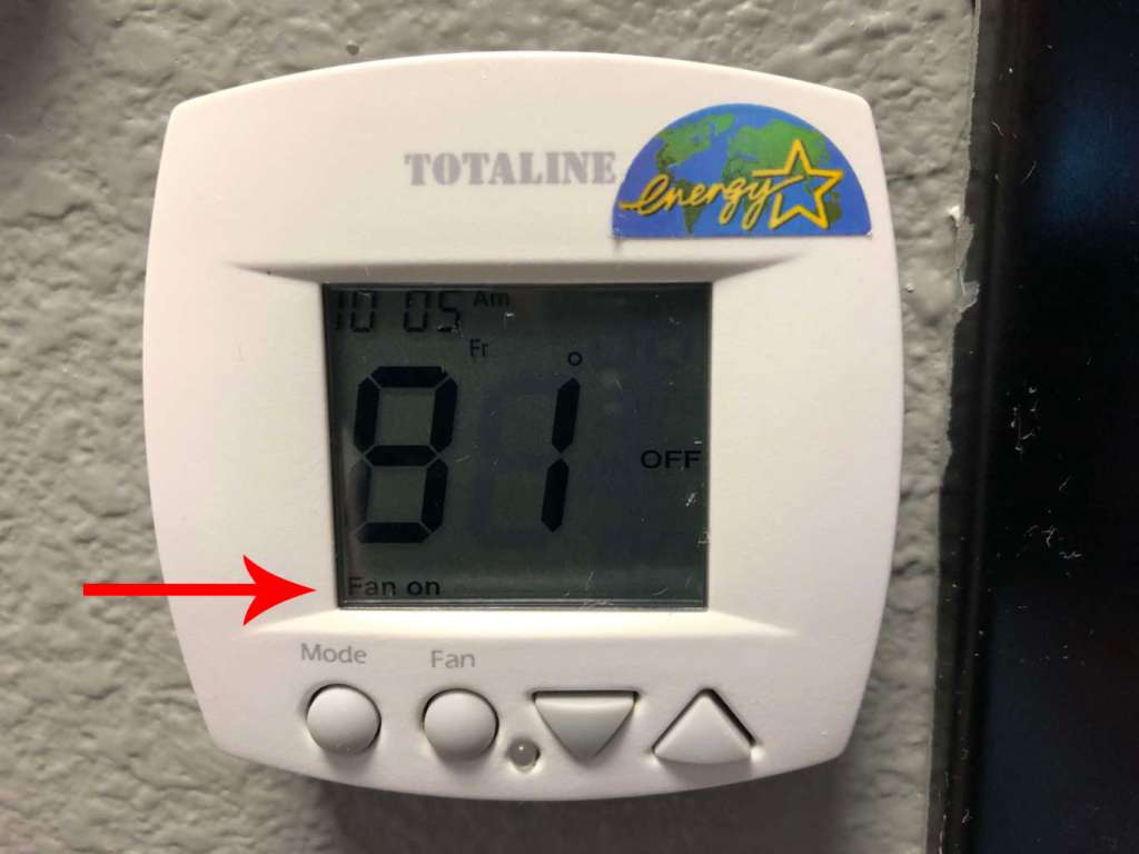 furnace is blowing cold air because the thermostat fan is set to on