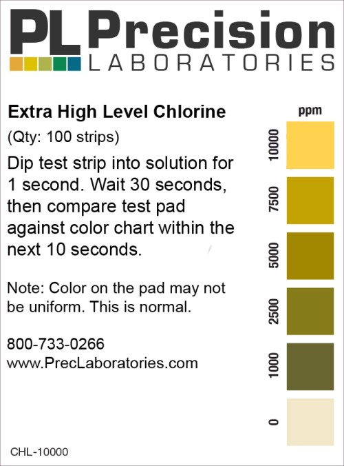 chlorine test strips, extra high level chlorine