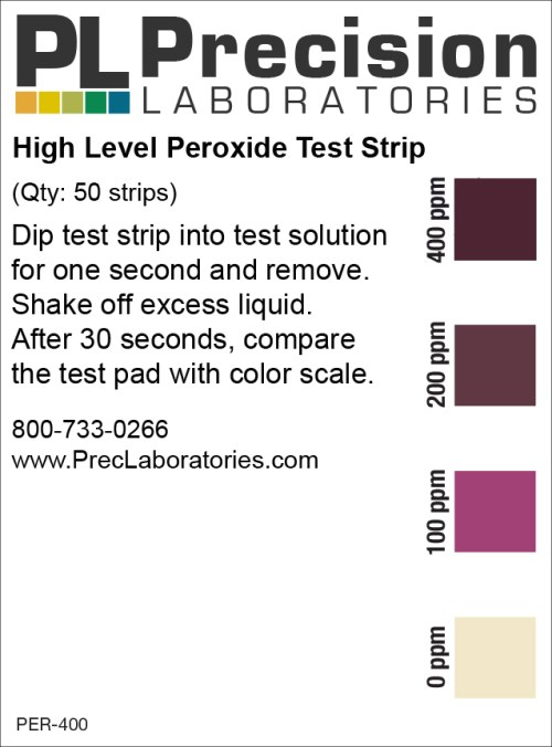 peroxide test strip, peroxide, peroxide 0-400ppm test strip