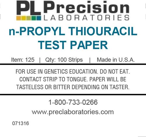 n-propylthiouracil test paper, prop, taste test paper, prop taste test, genetic taste test