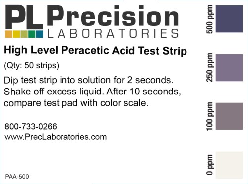 Peracetic Acid Test Strips, 500ppm