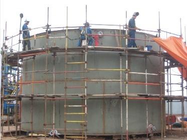 Fotografía 1. Construcción de la pared del tanque.