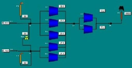 Fig 18. Modelo de un Arreglo Mixto Compuesto por Siete Trenes