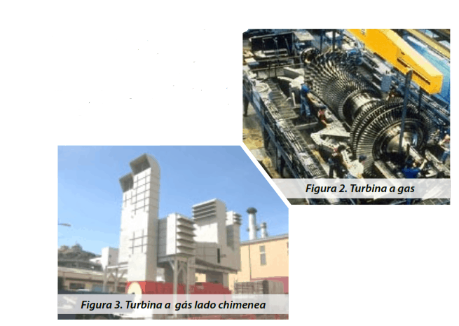 Figura 2. Turbina a gas y Figura 3. Turbina a gás lado chimenea