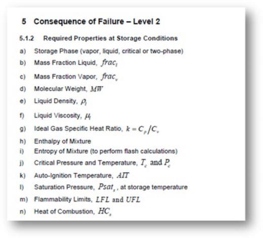 Figura 2. Propiedades requeridas para el cálculo de las consecuencias para un Nivel 2 según API 581