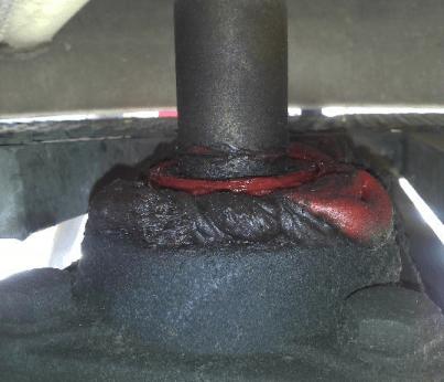 Figura 3. Soporte de fundición con exceso de lubricante, el sello dejó de funcionar, el rodamiento está comprometido y próximo a la falla.
