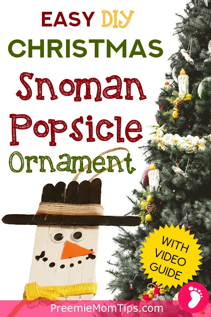 Here's a step by step guide to the Christmas Popsicle Snowman Ornament! An easy, diy, Christmas craft you can make with your toddlers and children to hang on the Christmas tree!