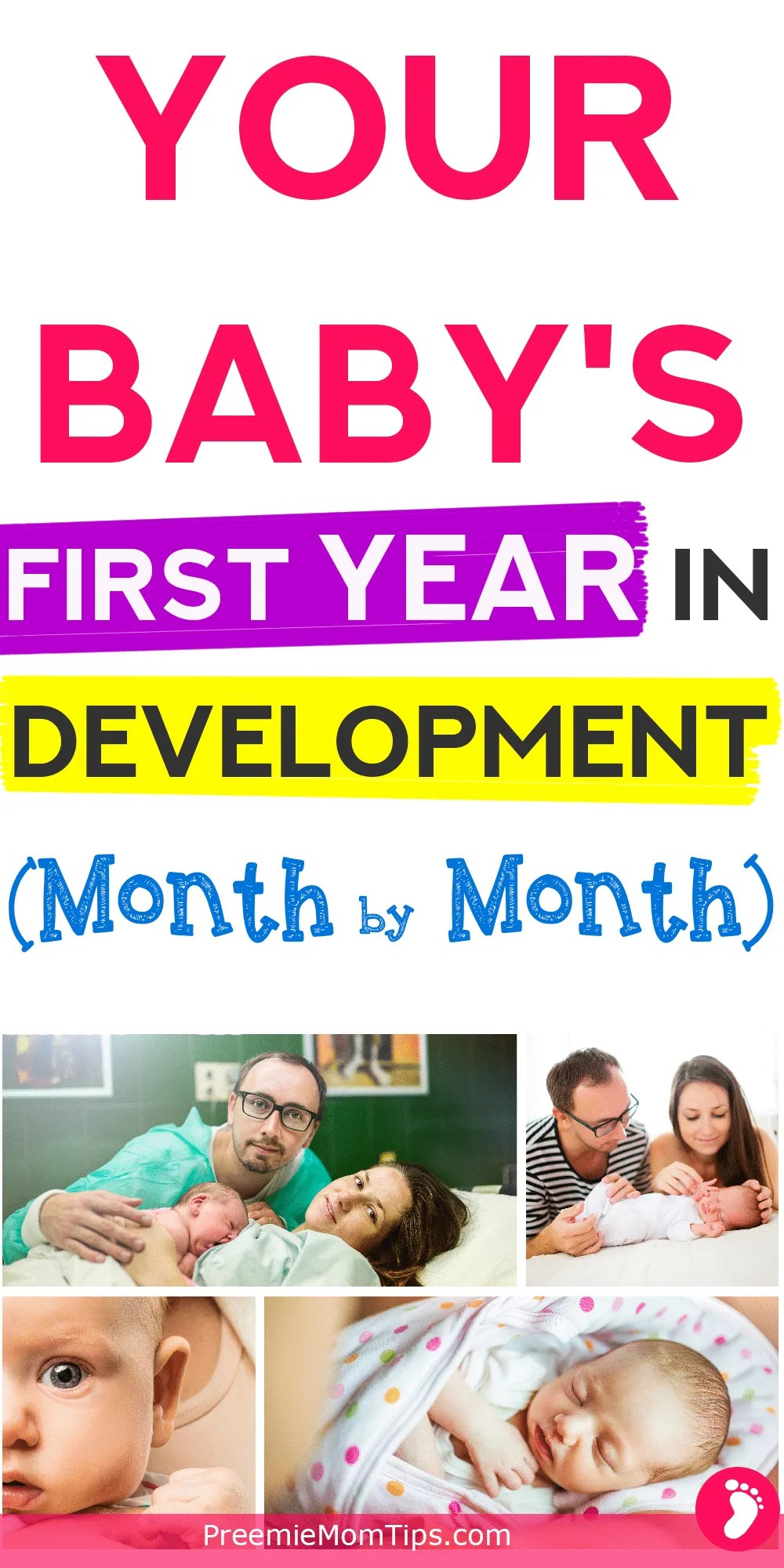 Track your baby's progress during the first year. Understand yoru baby's development month by month!