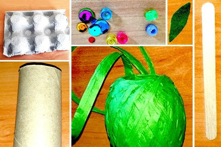 Materials to Make a flower Egg carton craft for kids