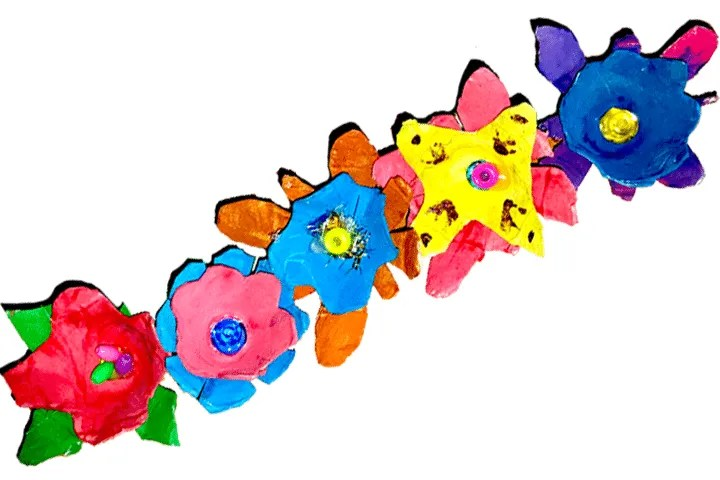 Easy egg carton craft for kids, Add decorations to the flower petals.