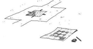 dibujo de replanteo de pilar en cáliz
