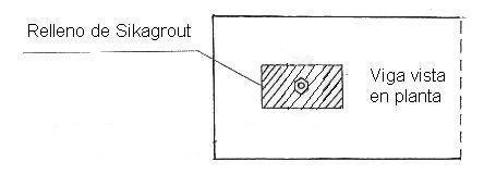 dibujo en planta de relleno del pasador