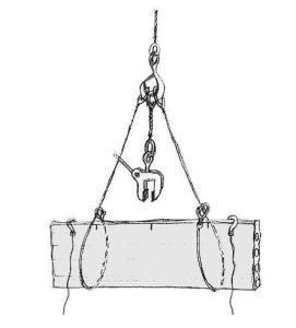 dibujo de placa en izado de grúa