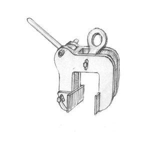 Pinza de colocación de placas alveolares. Uno de los útiles y herramientas de un equipo de montaje de prefabricado de hormigón