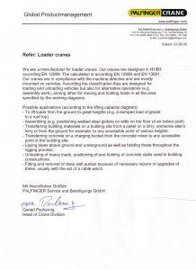 Certificado del fabricante PALFINGER donde explica para que se puede utilizar una grúa autocargante fabricada por él.