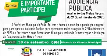 Audiência Pública: Avaliação das Metas Fiscais do 2º quadrimestre de 2020 em 30 de Setembro às 09hrs