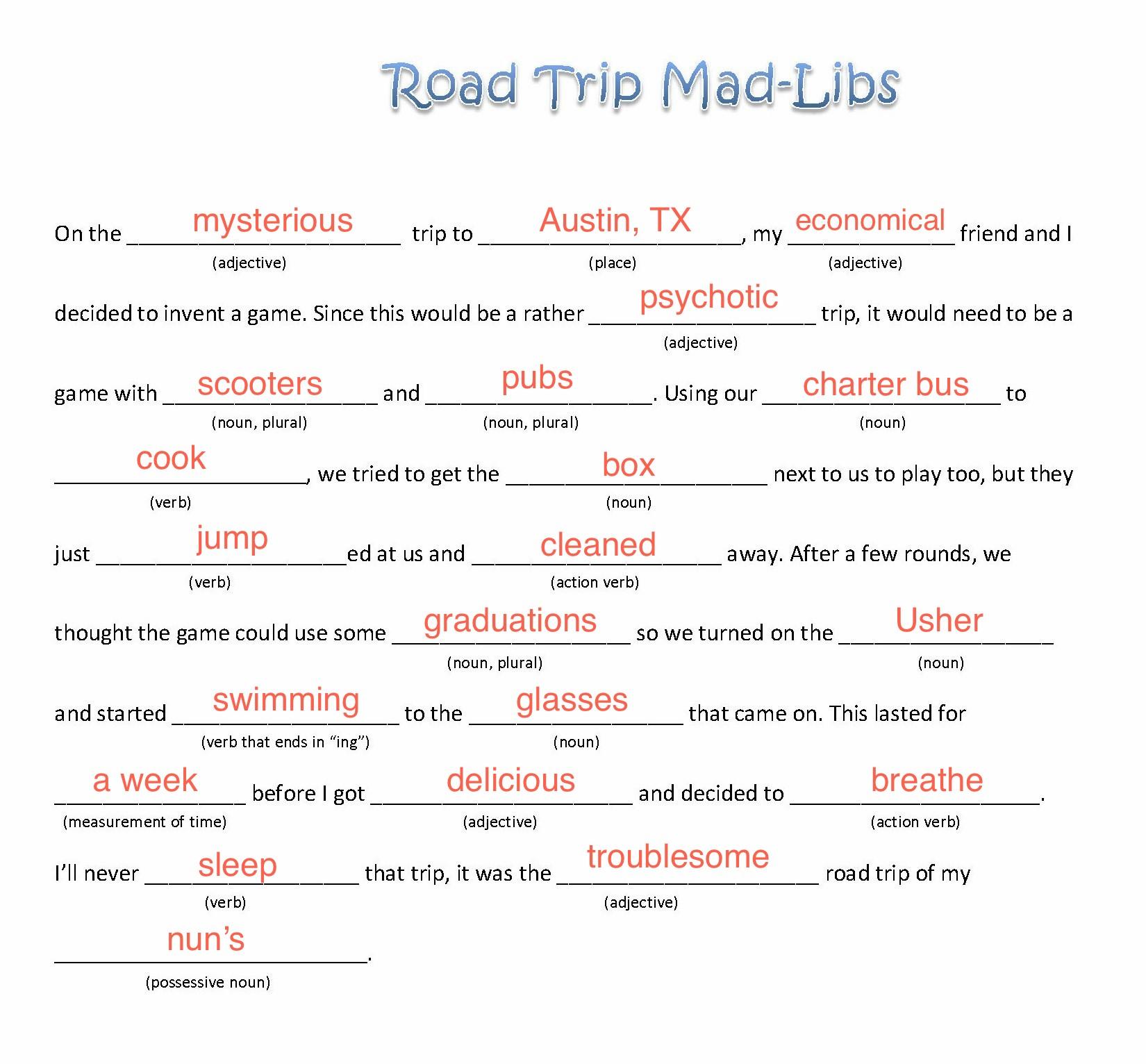 Epic Road Trip Mad Libs