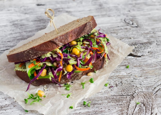 Delicious healthy vegetarian open cole slaw and a chickpea sandwich