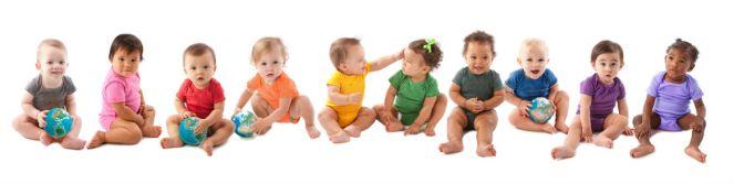 Row of babies sitting down
