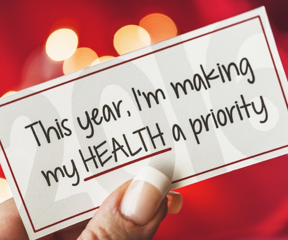 """Label with words """"This year, I'm making my health a priority"""