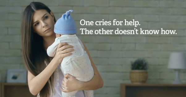 """Parent holding baby with text """"one cries for help. The other doesn't"""""""