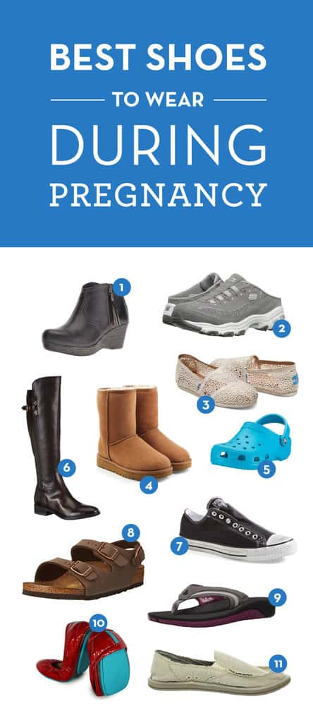 Ease those swollen feet, here's the best shoes to wear during pregnancy.  A list of must-haves with the most comfortable shoes for fall, spring, winter, and summer - any season!