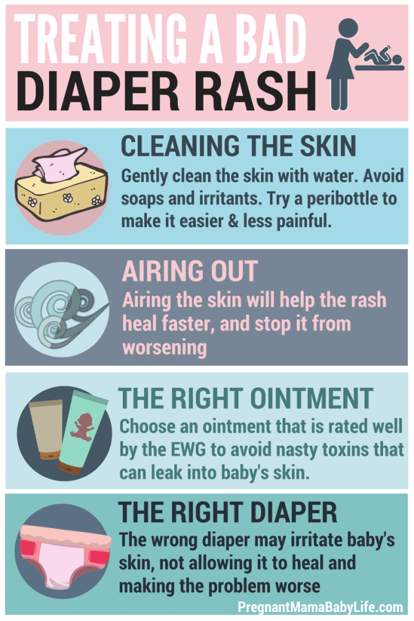 How to get rid of a bad diaper rash. Tips and remedies on treating babies diaper rash the right way.