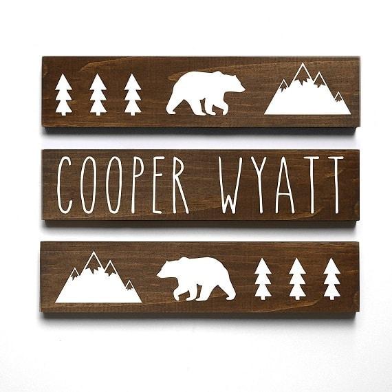 Woodland themed nursery decor. Perfect name display for outdoor themed nursery.