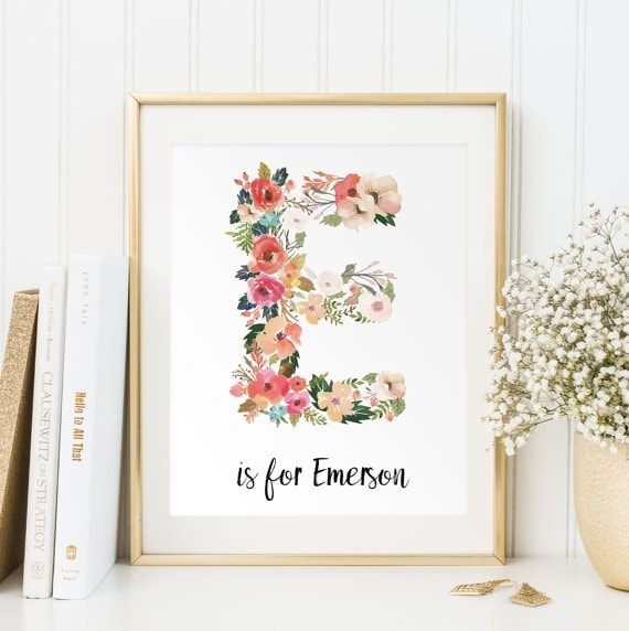 Floral initial printable for baby's nursery.