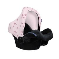 Dooky Hoody - Sonnenverdeck für Babyschalen / UPF 50+ / Pink Herz