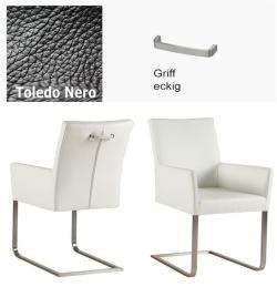 Freischwinger - Agio Leder Toledo schwarz mit Griff eckig Kasper Wohndesign