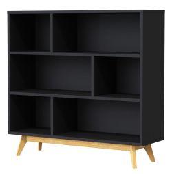 BESS - Designer Regal, schwarz / eiche, lackiert, matt, Untergestell Eiche massiv