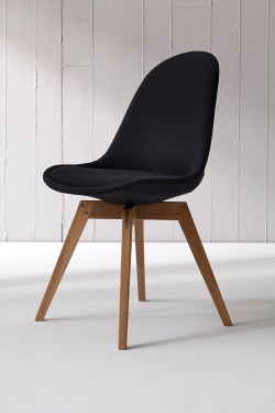 TENZO Stuhl BESS fabric schwarz/eiche 2er Set