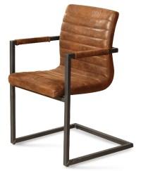 4x Stuhl Lexo Esszimmerstuhl Kunstleder Freischwinger braun