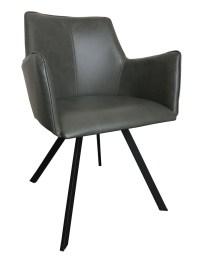 4x Stuhl Charles Esszimmerstuhl Kunstleder grau