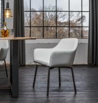 2er Set Stuhl Loui Sessel Kunstleder Esszimmerstuhl weiß