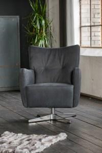 KAWOLA Sessel ALINE Drehsessel Sessel Leder graphit 68x87x72cm (B/H/T)