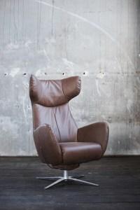 KAWOLA Sessel RANDY Drehsessel mit Wippfunktion Ledersessel Leder braun