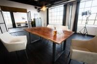 KAWOLA Essgruppe 7-teilig mit Esstisch Baumkante nussbaumfarben Fuß silber 200x100 und 6x Stuhl Cali Stoff creme