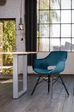 KAWOLA Essgruppe 9-Teilig mit Esstisch Baumkante Fuß silber 200x100cm und 8x Stuhl ZAJA Velvet petrol
