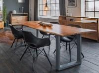 KAWOLA Essgruppe 5-Teilig mit Esstisch Baumkante Fuß silber 140x85cm und 4x Stuhl ZAJA Kunstleder schwarz