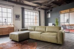 KAWOLA Ecksofa EXTRA Sofa Leder olivgrün Recamiere links klein mit manueller Sitztiefenverstellung