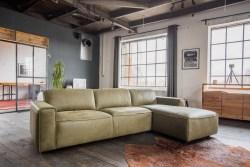 KAWOLA Ecksofa EXTRA Sofa Leder olivgrün Recamiere rechts klein mit manueller Sitztiefenverstellung