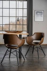 KAWOLA Essgruppe 5-Teilig mit Esstisch Baumkante Fuß schwarz 160x85cm und 4x Stuhl ZAJA Kunstleder dunkelbraun