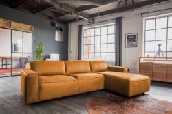 KAWOLA Ecksofa EXTRA Sofa Leder cognac Recamiere rechts groß mit manueller Sitztiefenverstellung